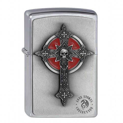 Zippo chrom gebürstet Anne Stokes Gothic Cross