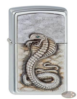 Zippo chrom gebürstet Green Eyed Cobra