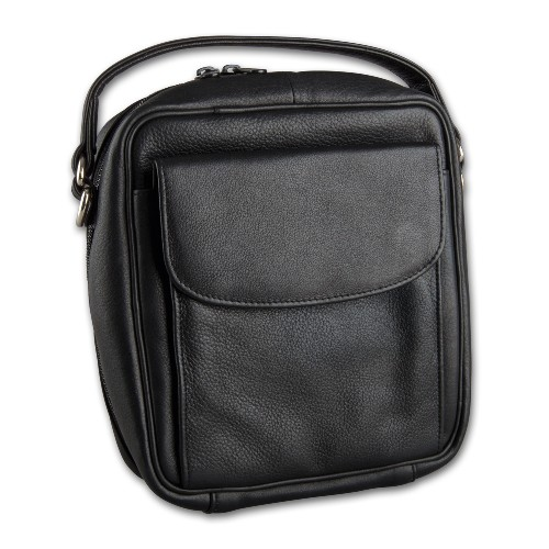 Pfeifentasche Leder schwarz mit Vortasche/Schulterriemen 3