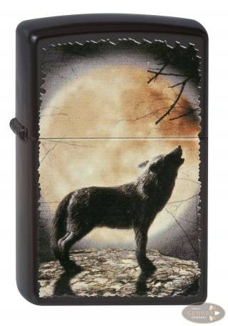 Zippo schwarz matt Wolf Howling to the Moon