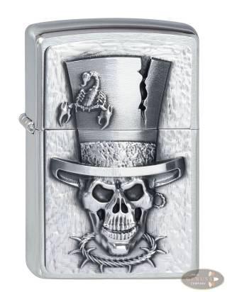 Zippo chrom gebürstet Skull Top Hat Emblem